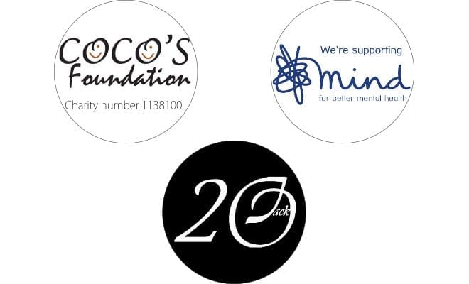 Charity logos for Cocos, MIND and 20JACK